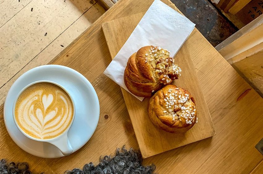 Photo of a latte and pastries