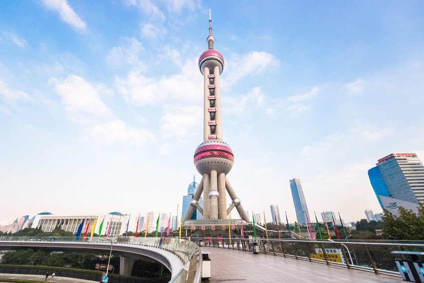 Street view of the Oriental Pearl TV tower and surrounding landscape, Shanghai, China