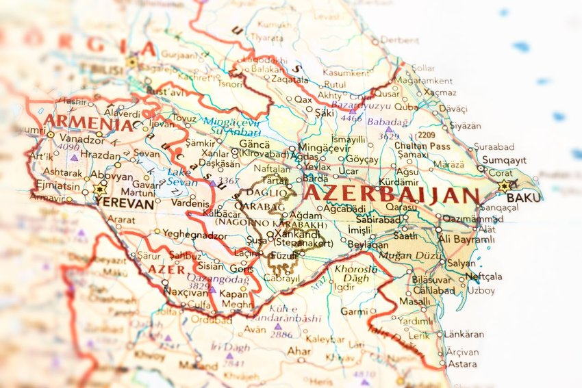 Up close map of the border between Azerbaijan and Armenia, illustrating exclaves