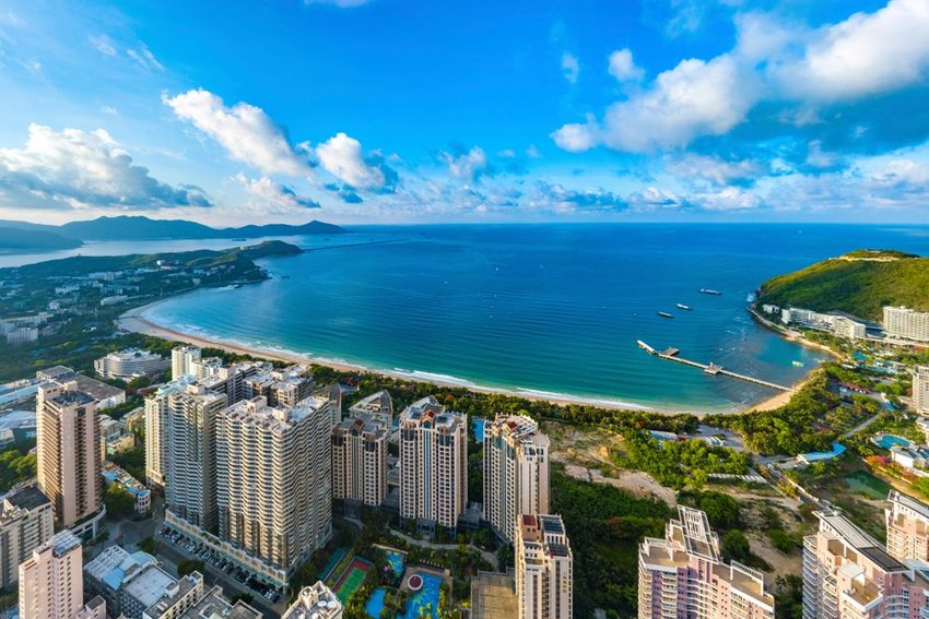 Aerial view of coastal landscape and skyscrapers at Dadonghai Recreational Beach, Hainan Province, China
