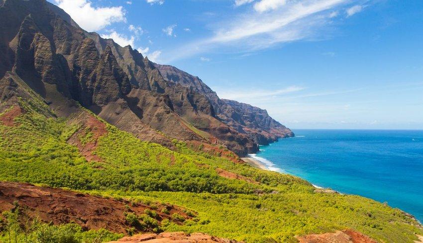 Landscape of Na Pali Coast near Kalalau Beach, Hawaii