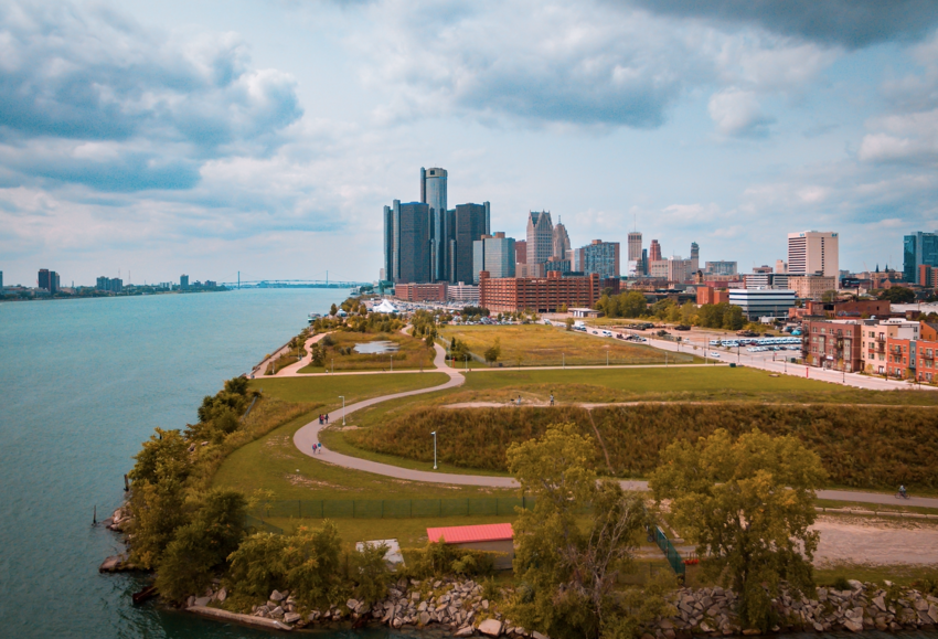 View of park with city of Detroit in the background