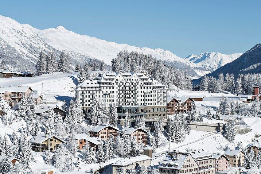 The Carlton Hotel in St. Moritz, Switzerland in winter