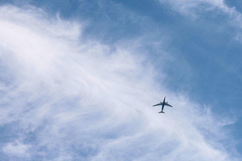 Airplane in sky, taken from below