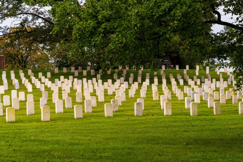 Rows of headstones at Gettysburg National Cemetery