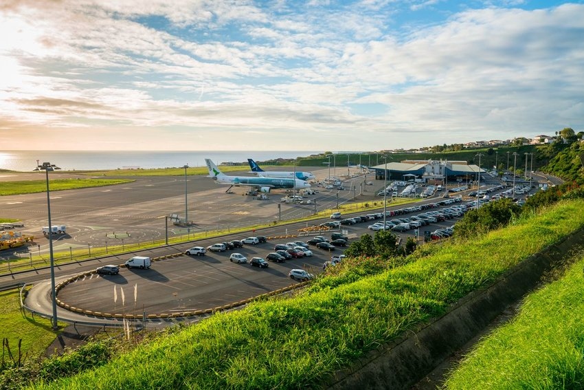 View of airport in San Miguel, Azores, Portugal with few planes parked