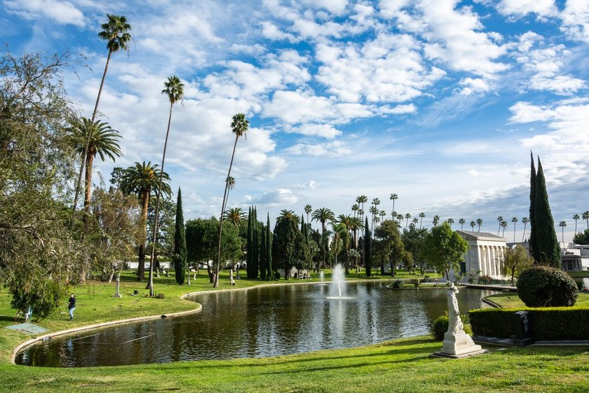 View of Hollywood Forever Cemetery in Los Angeles, CA, with tombs and garden