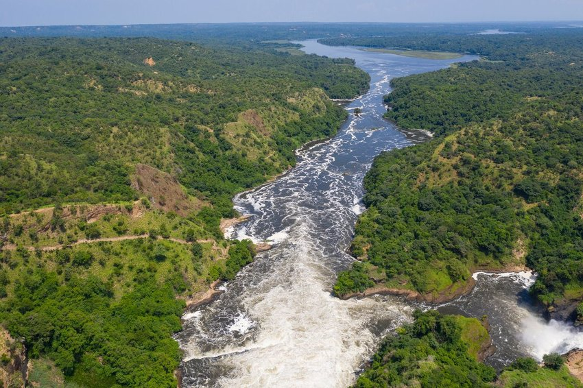 Aerial view of the Nile in Murchison Falls National Park, Uganda
