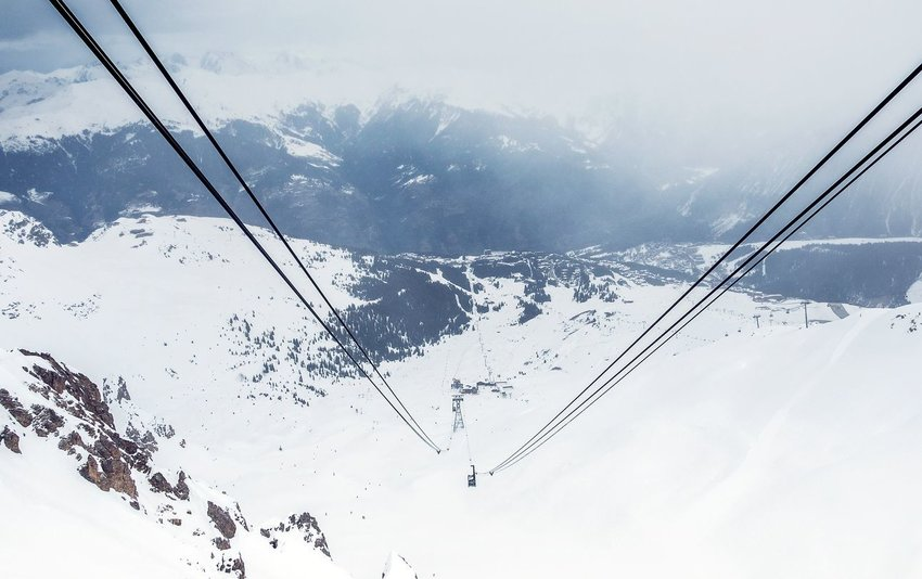 Courchevel, France. Cable car lifting people to the top of the ski mountain