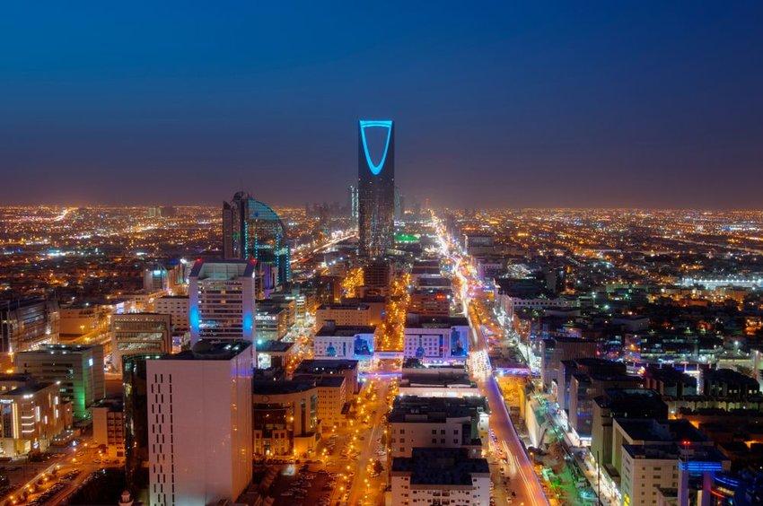 Riyadh skyline at night, the capital of Saudi Arabia