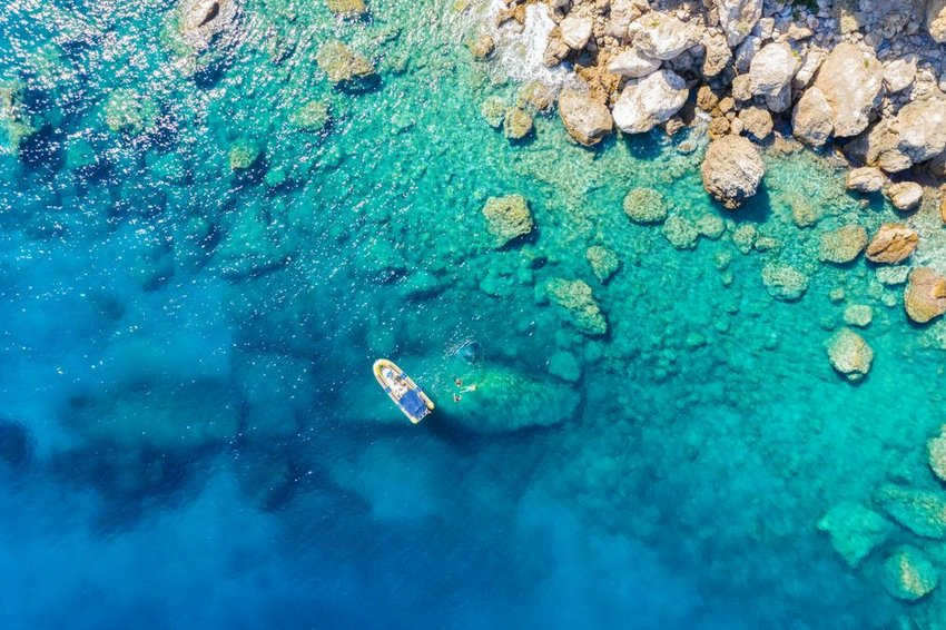 Aerial view of boat and snorkelers off the coast of Greece in the Mediterranean