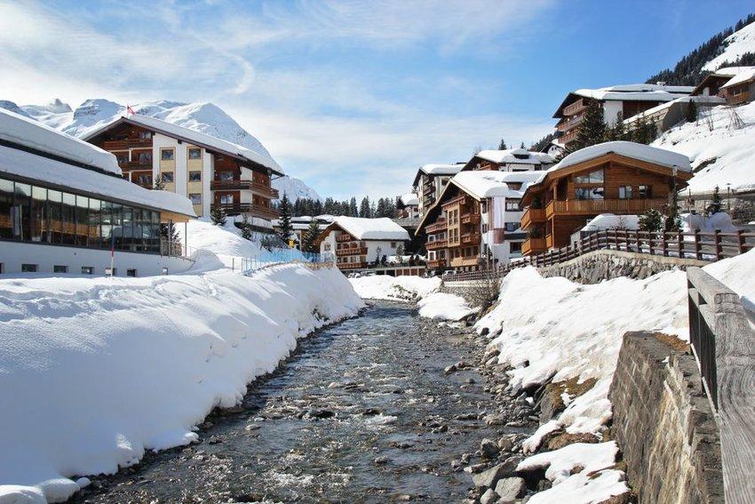 River running through Lech Arlberg Village in winter