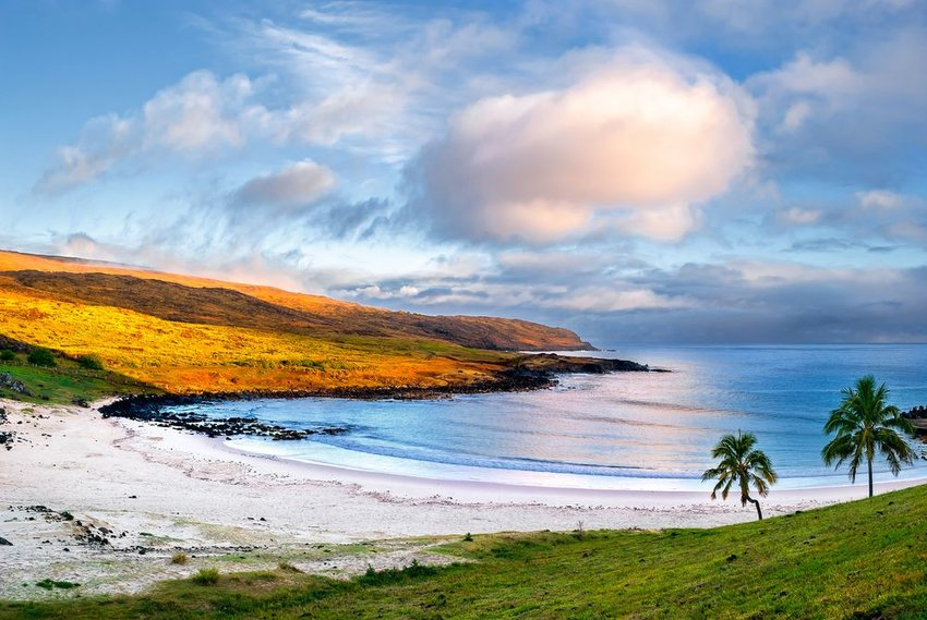 Anakena, a white coral sand beach situated on the northern tip of Rapa Nui in Easter Island
