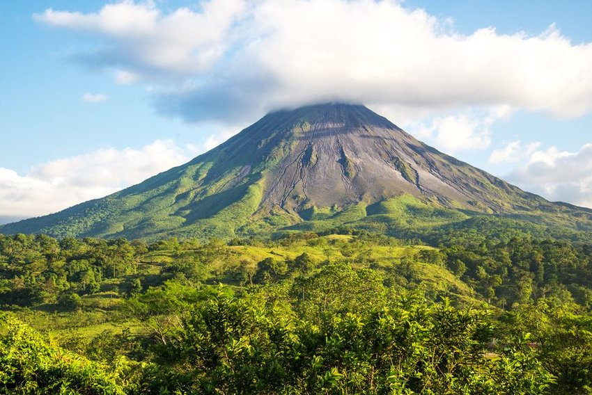 Volcano in Costa Rica surrounded by jungle