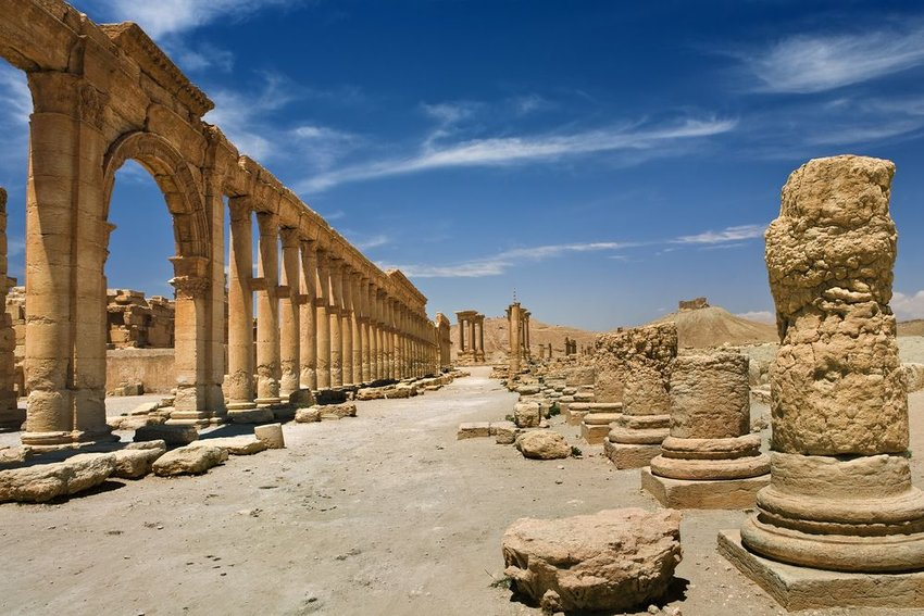 Ruins at Palmyra (Tadmor), Syria on the UNESCO World Heritage List