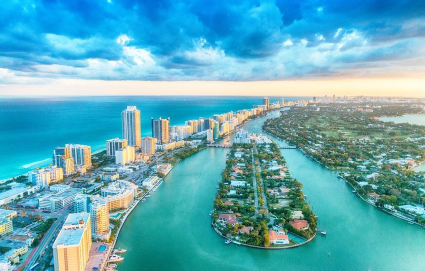 Aerial view of Miami, Florida at sunset