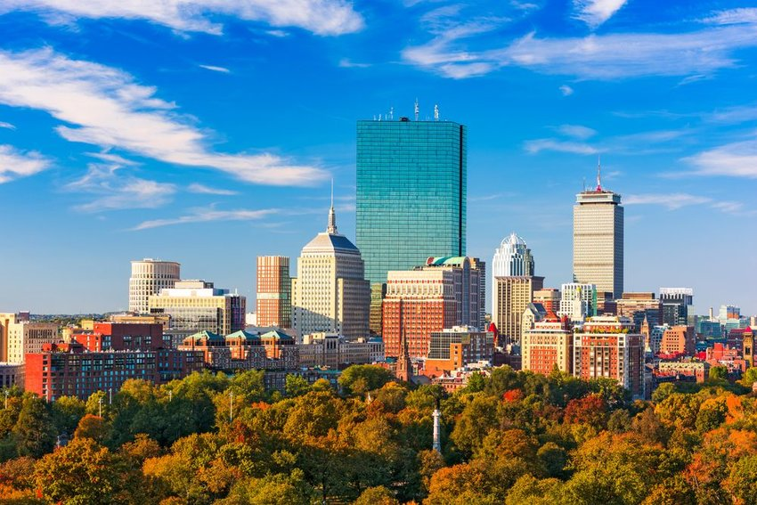 Aerial view of Boston skyline showing skyscrapers and trees