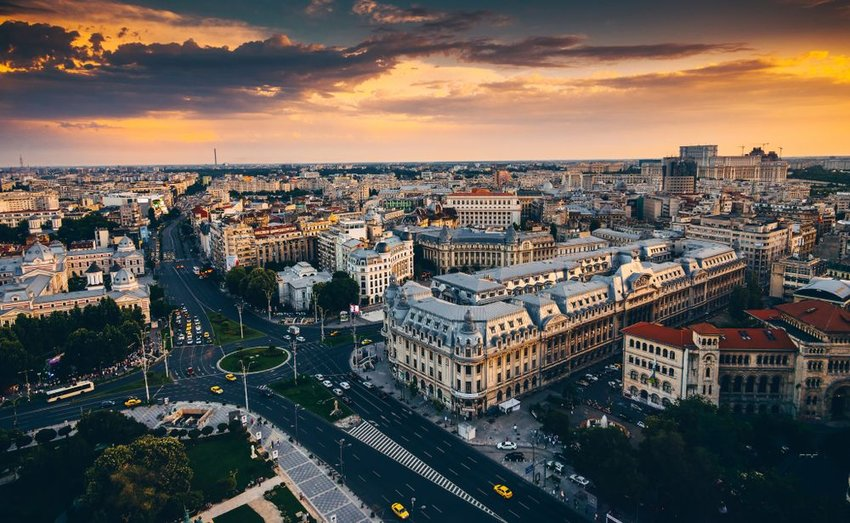Aerial view of Romanian city of Bucharest during a sunset