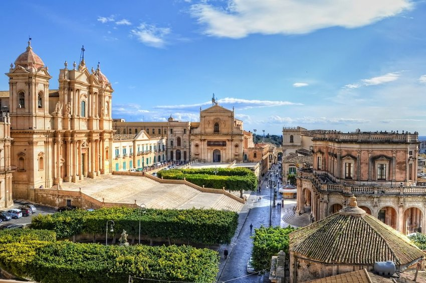 Aerial view of historic architecture in Noto, Sicily, Italy