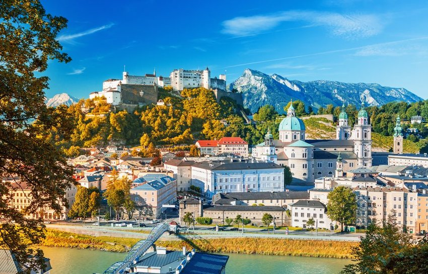 Aerial view of sunny landscape and architecture in Salzburg, Austria