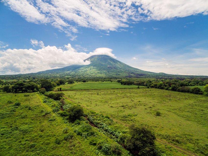 Aerial view of the iconic Chaparrastique volcano in San Miguel, El Salvador