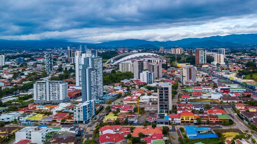 Aerial view of San Jose skyline showing architecture and mountains, Costa Rica