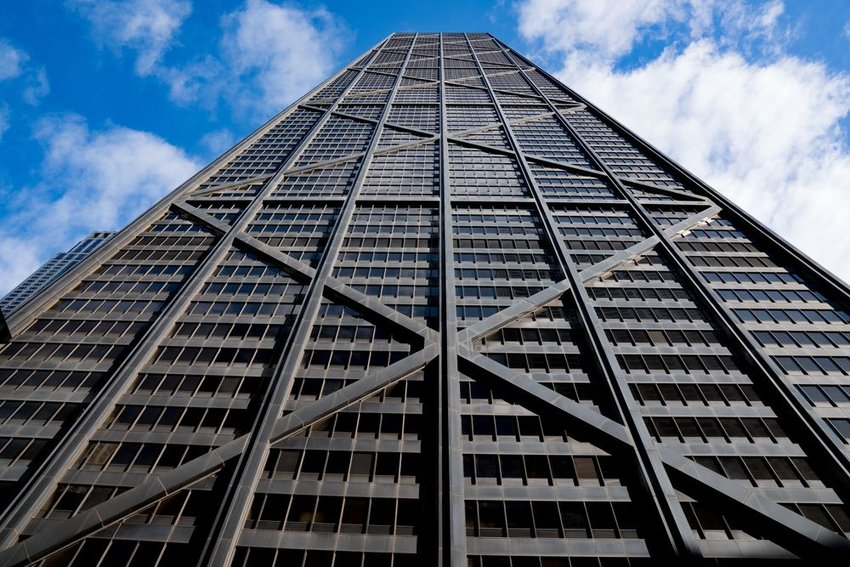 Street view of Chicago's John Hancock Center, with straight line architecture on display