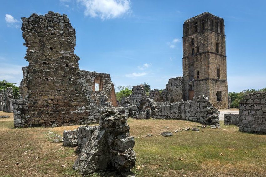 Historic ruins of Panama Viejo old city, crumbling walls and towers of stone