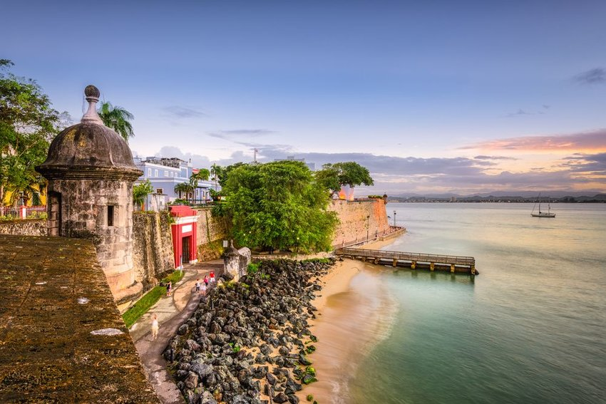Scenic view of beach and colorful sunset in Puerto Rico