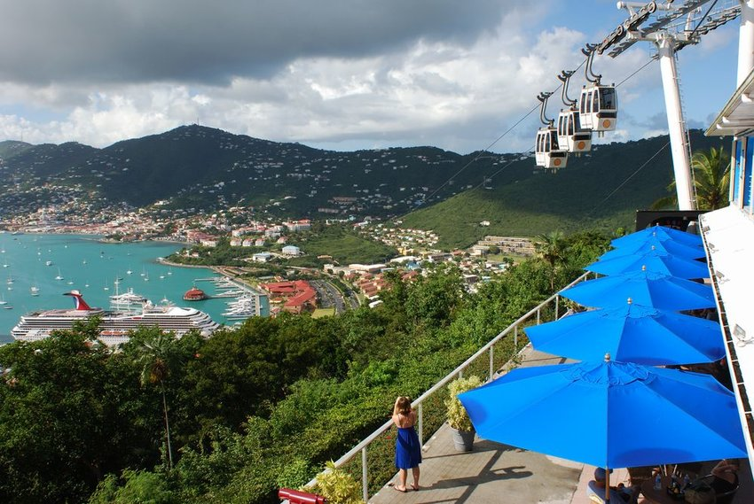 Aerial view of scenic landscape and houses dotting the mountainside in the U.S. Virgin Islands