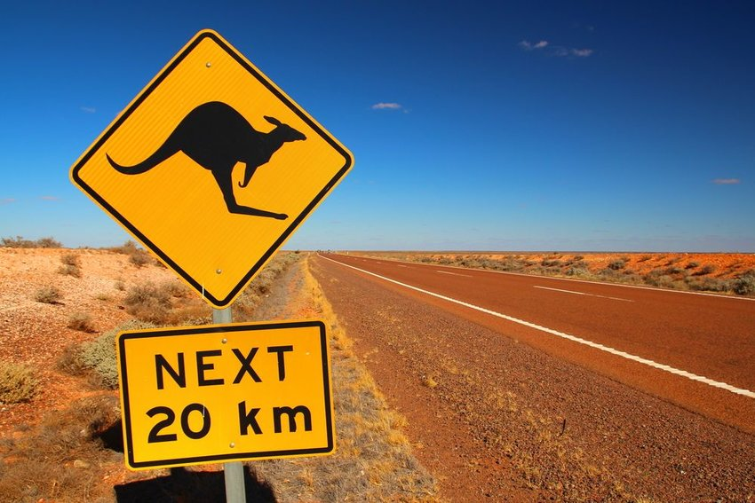 Red highway in the Australian Outback with yellow kangaroo crossing sign in foreground