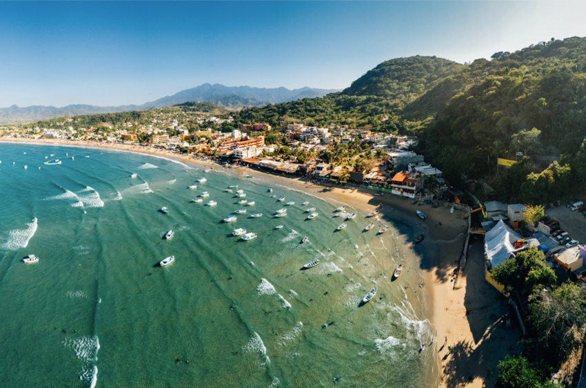Aerial View of Nayarit Beach Rincon de Guayabitos, Mexico