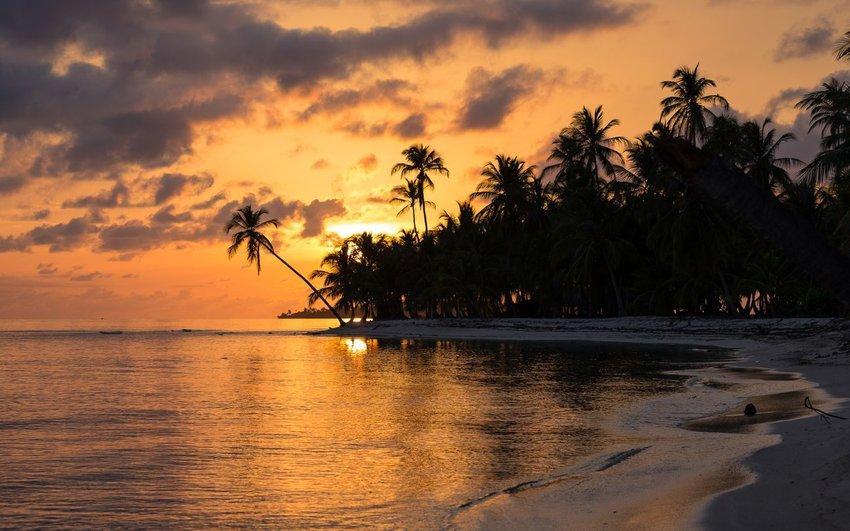 Sunset on beach in Panama