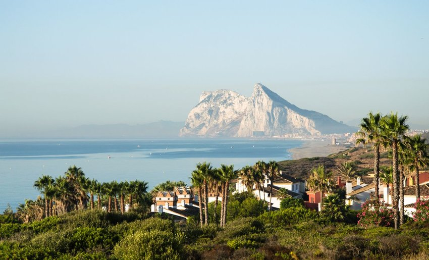Landscape with the rock of Gibraltar in the background