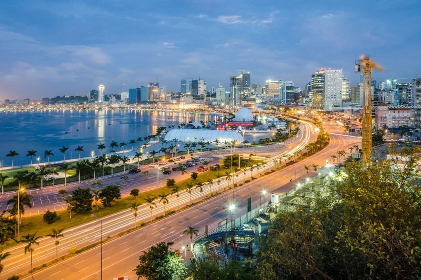 Skyline of capital city Luanda, Luanda bay