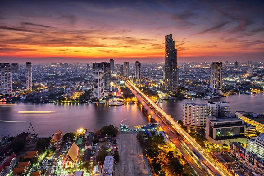 Bangkok city at sunset, over looking Taksin Bridge