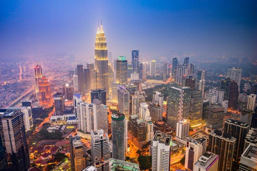 Aerial view of Kuala Lumpur, Malaysia city skyline