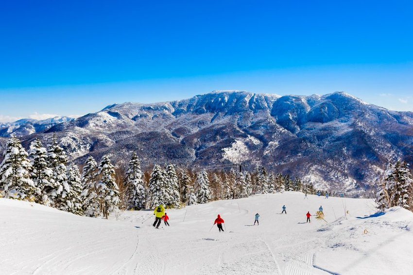 People skiing in Japan with mountain in background
