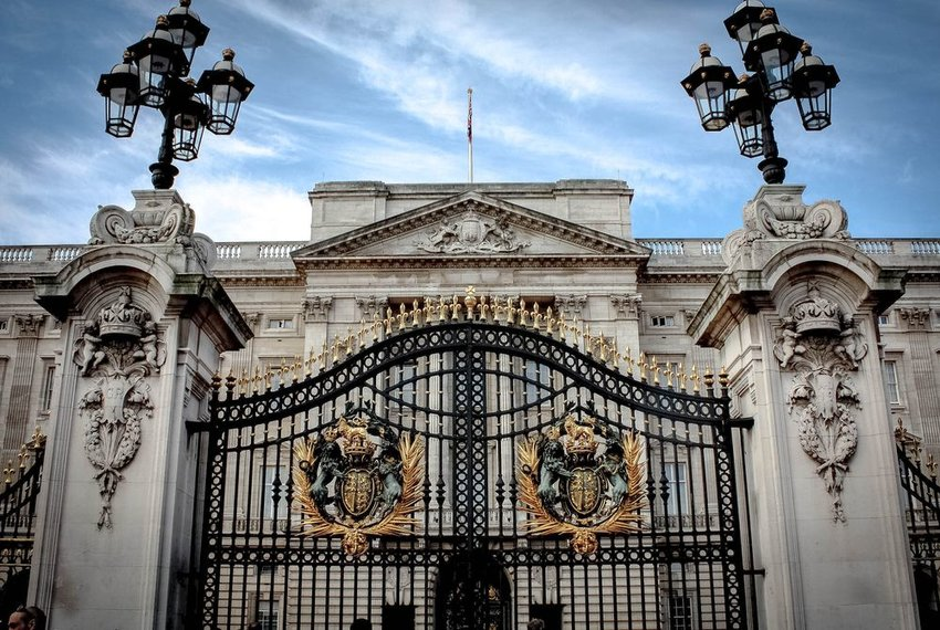 The gates of Buckingham Palace royal home in England, United Kingdom