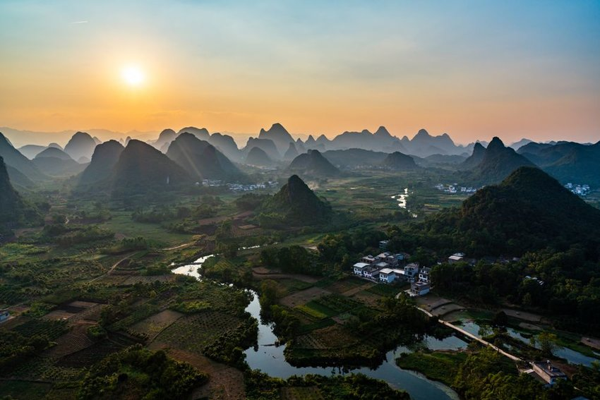 Foggy karst mountains in Guilin, China