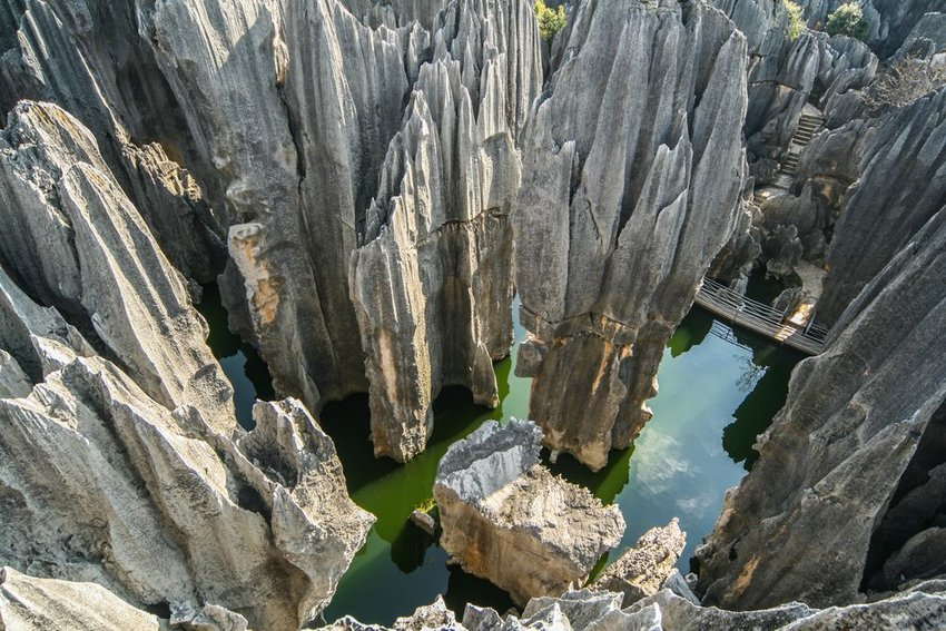 Aerial view of Shilin Stone Forest rock formations in China