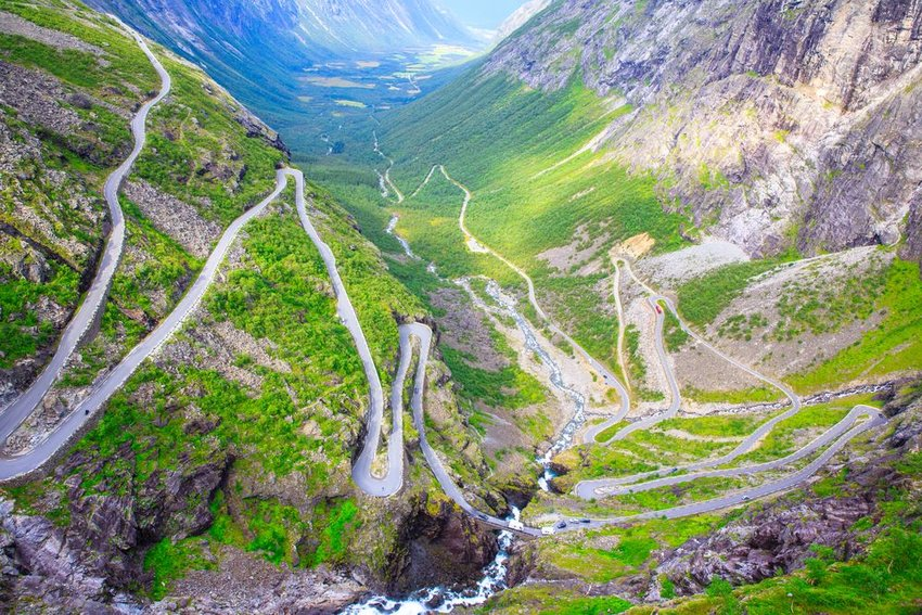 Aerial view of The Troll's Road in Norway, showing winding roadway and greenery