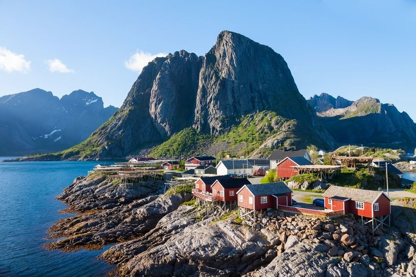 Village of Reine by the fjord on Lofoten Islands in Norway, seen on a clear day