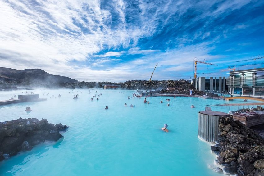 Aerial view of swimmers in the Blue Lagoon geothermal spa, Iceland