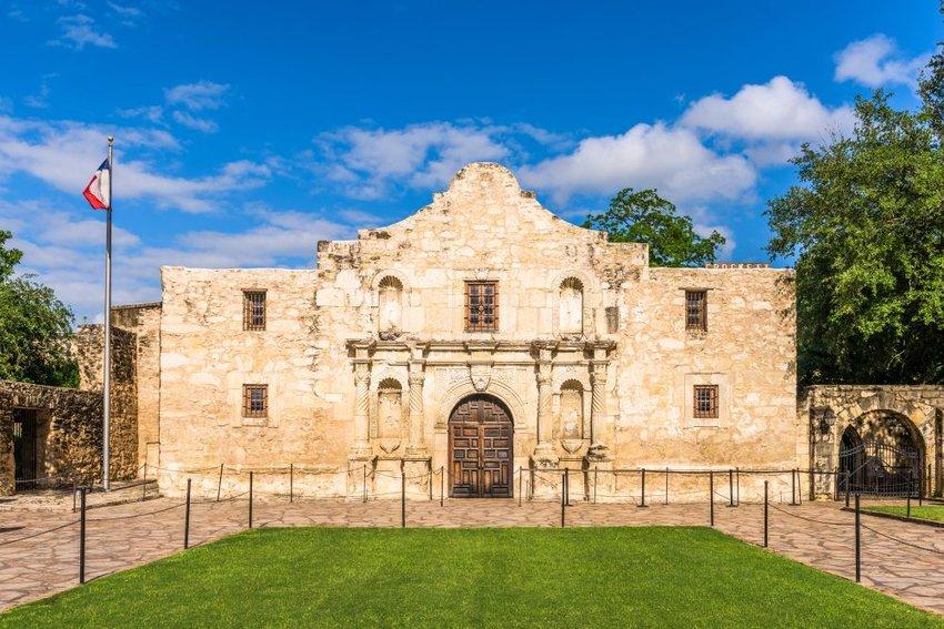 Iconic historic site of the Alamo in San Antonio, Texas