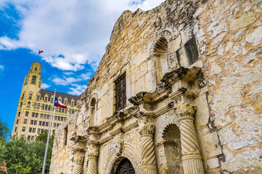 Iconic Alamo building historic site, showing relief of old rocks and brick architecture