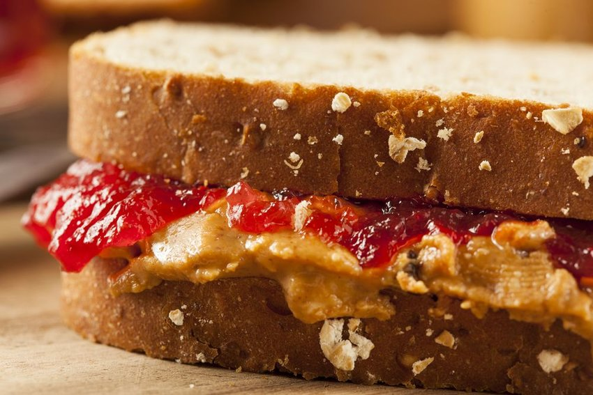 Up close view of peanut butter and jelly sandwich on brown bread