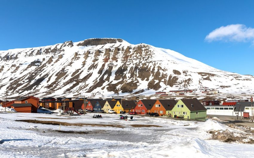 Iconic rows of colored homes in the icy region of Longyearbyen, Svalbard, Norway