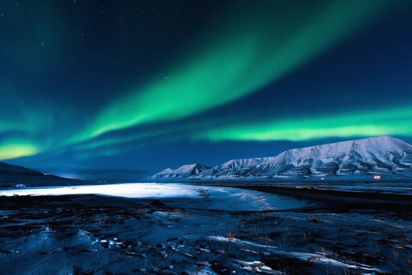 The Northern Lights aurora borealis seen in Svalbard, Norway