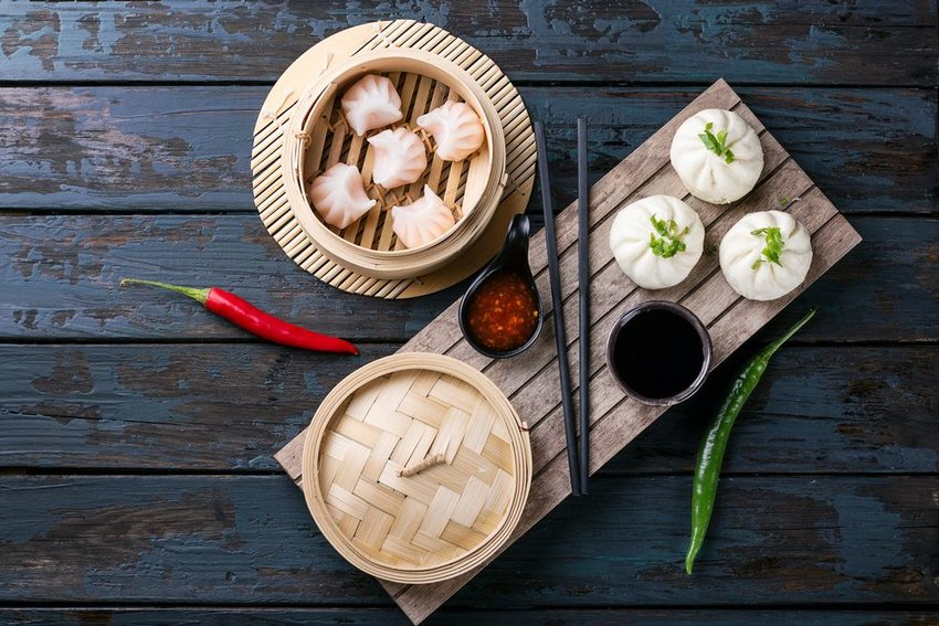 Traditional dim sum order with bamboo baskets and steamed dumplings